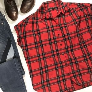 Madewell Red Central Shirt In Dahl Plaid